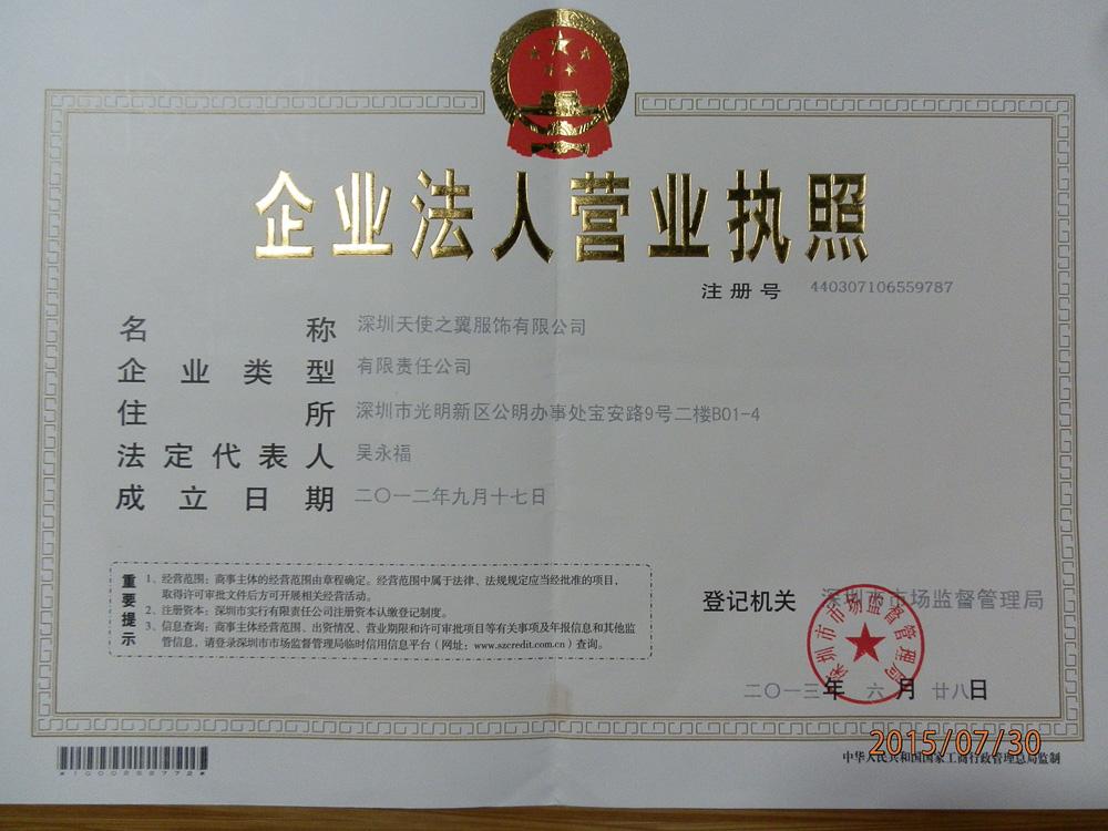深圳天使之翼服饰有限公司企业档案