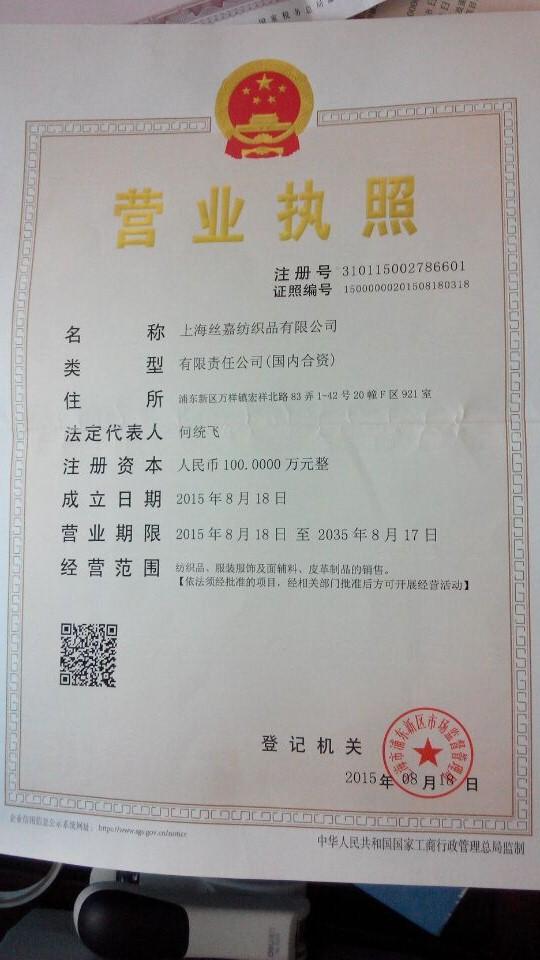 上海丝嘉纺织品有限公司企业档案