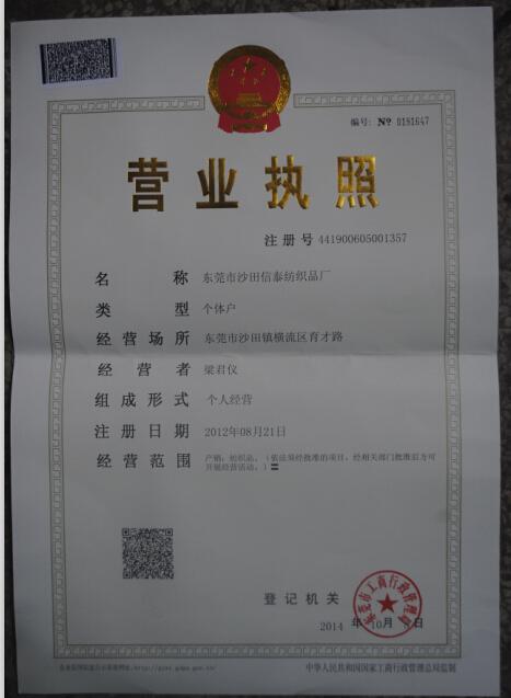 东莞市沙田信泰纺织品厂企业档案
