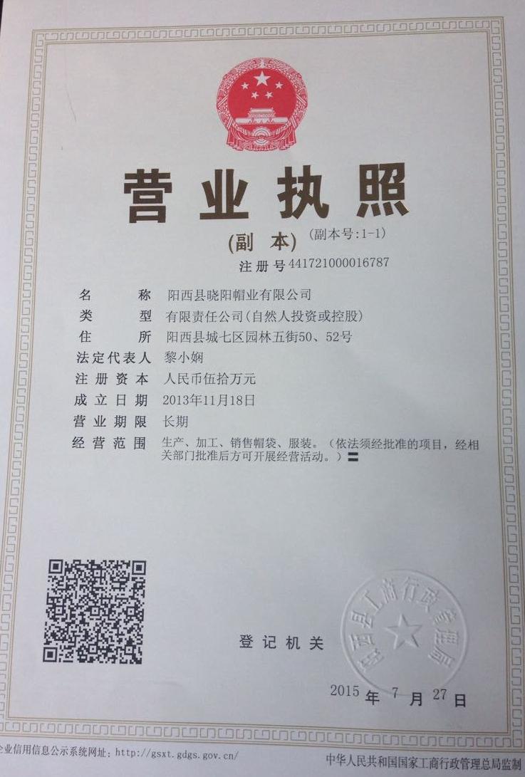 阳西县晓阳帽业有限公司企业档案