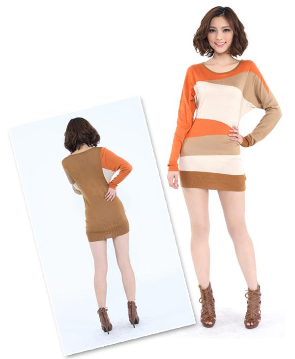 余香2012春装新款 波普几何风淑女收腰包臀圆领长款毛衣
