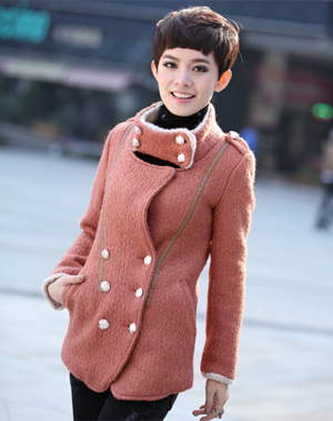 听微服饰 女装秋冬毛绒领呢子外套