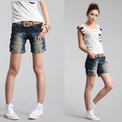 7032012新款春夏装女裤 韩版活力牛仔裤 破洞拉链装饰牛仔短裤