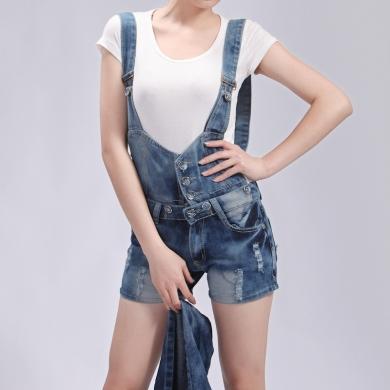 2012夏装新款 怀旧磨破短裤/背带裤 经典吊带短裤