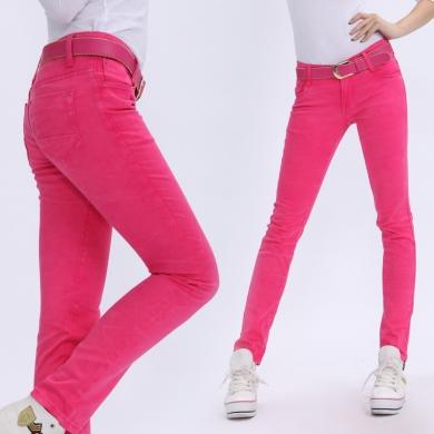 2012春夏新款韩版 修身显瘦弹力小脚裤  亮色糖果色 长裤