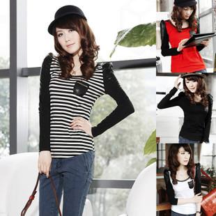 2012春装新款品牌女装专柜正品时尚内外两搭PU皮拼接T恤