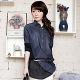 衣饰馨语2012新款品牌女装专柜正品欧版牛仔拼接雪纺经典长款衬衫