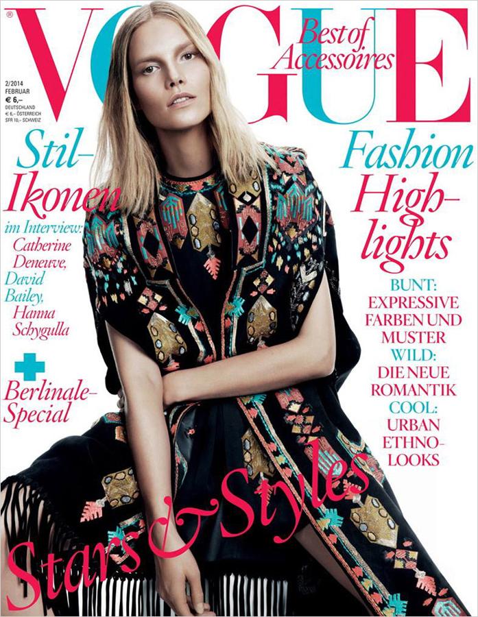 超模苏薇登德国版《vogue》杂志封面