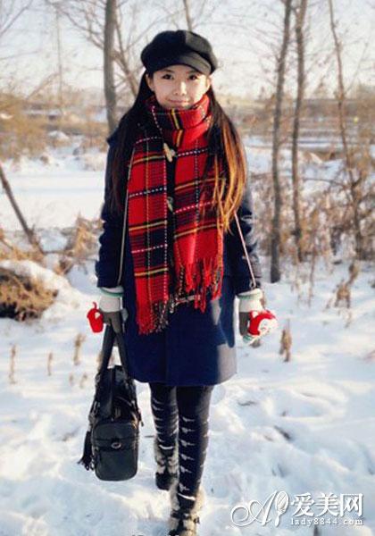 经典格子围巾女_2013新款秋冬雪纺超长丝巾经典格子围巾韩国