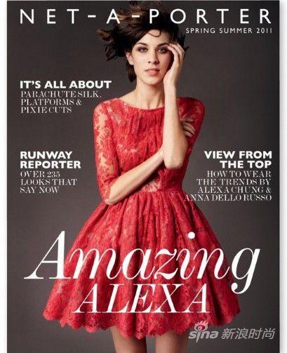 英国IT Girl Alexa Chung登上Net-a-Porter于2011年推出的限量杂志封面