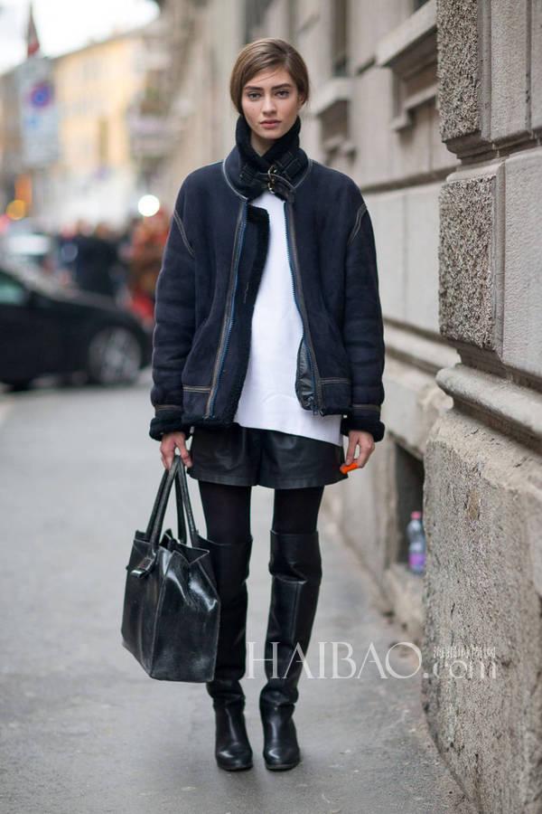 中国服装网 人物 2014秋冬米兰时装周模特街拍第一波       超模