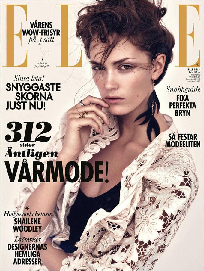 斯蒂娜·奥尔森登瑞典版《elle》杂志封面_服装人物