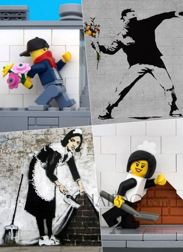 "friesen利用乐高积木""复制""banksy经典涂鸦作品"