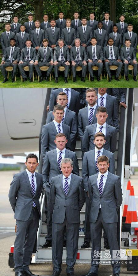 英格兰足球队以马莎西装为官方西装出征2014年