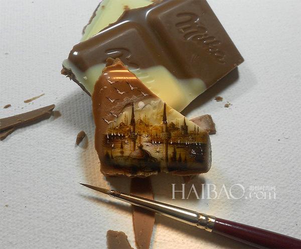 土耳其艺术家Hasan Kale在食物上描绘微观风景画