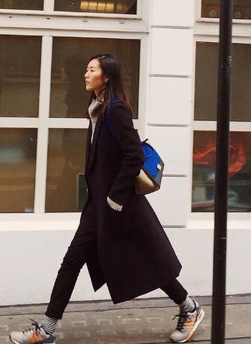 长款大衣和运动鞋的混搭是提升格调的好look,露出的条纹袜让双腿图片