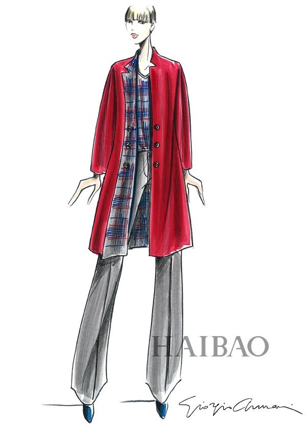 服装资讯 手稿插图 阿玛尼 (armani) 2015春夏格纹系列设计插画欣赏
