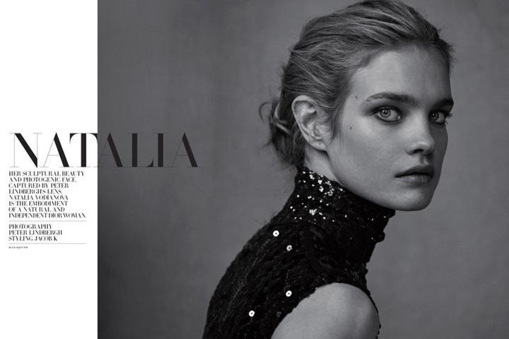 纳塔利为迪奥杂志拍摄时尚黑白大片