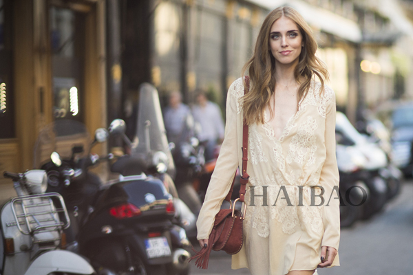 时尚博主嘉拉・法拉格尼 (Chiara Ferragni) 2015秋冬高级定制时装周秀场外街拍