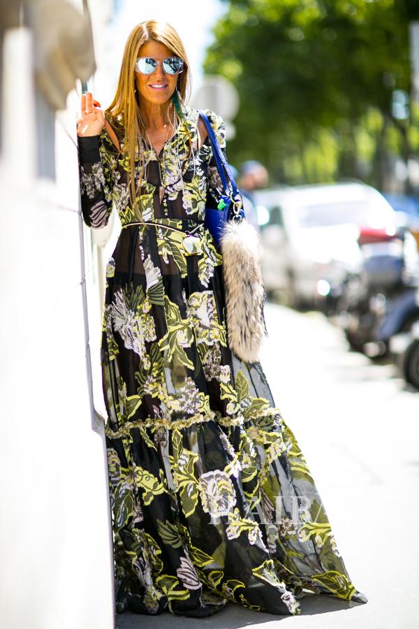 《Vogue》日本版自由时装总监及创意顾问安娜・戴洛・罗素(Anna Dello Russo) 2015秋冬高级定制时装周秀场外街拍