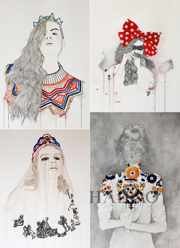 水彩画和铅笔画也可以和刺绣相结合