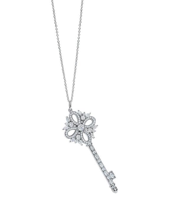 tiffany& co.蒂芙尼victoria系列铂金镶钻钥匙吊坠