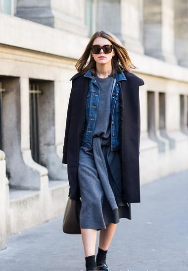搭配技巧:灰色另类毛衣连衣裙+牛仔外套+黑色长