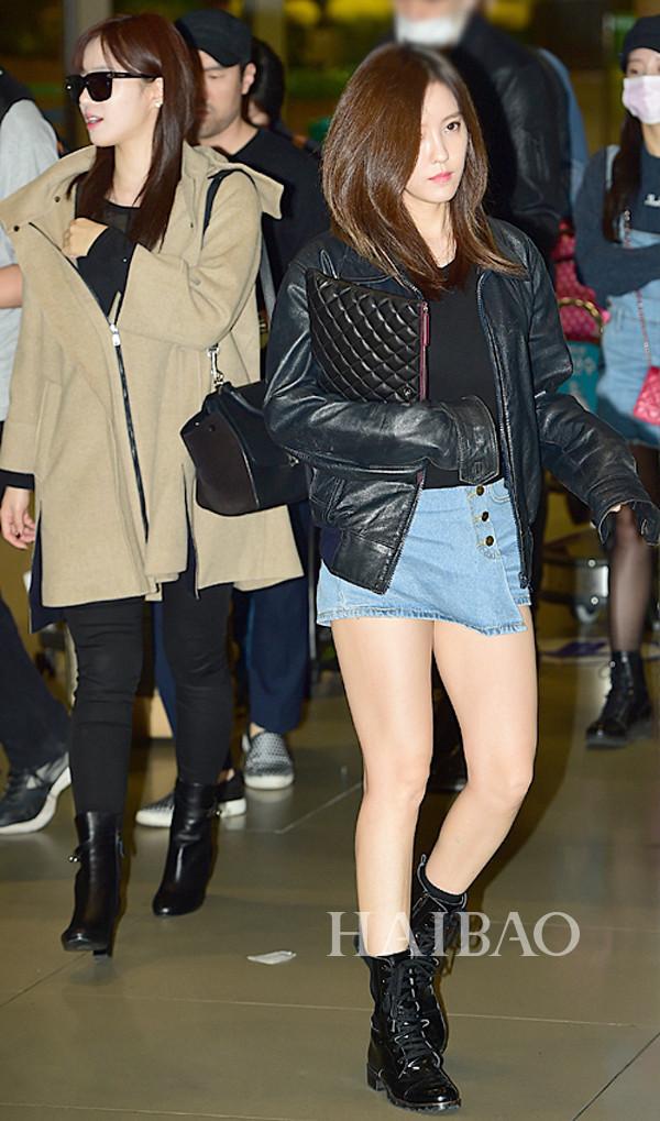 街拍   t-ara组合成员朴智妍10月22日韩国仁川机场