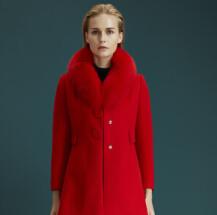 梦菲雪双面呢红色大衣 开启新年鸿运