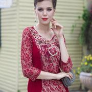 碧阳中年女装早春穿搭 中袖蕾丝上衣时尚搭配