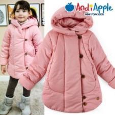 Andiapple童装冬季温暖长款棉衣
