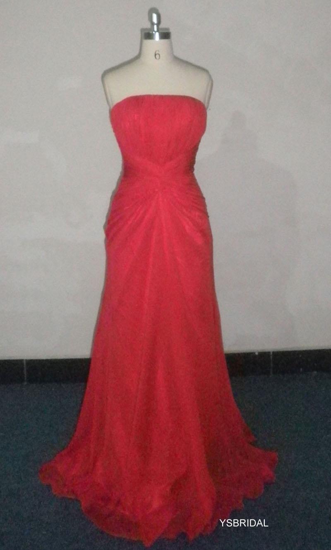 最新大红色抹胸雪纺晚礼服