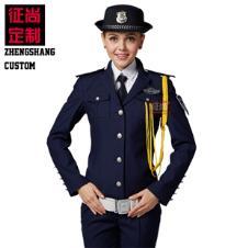 藏蓝色高档女保安服春秋套装订做