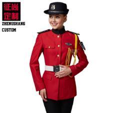 红色长袖女保安服秋装全套