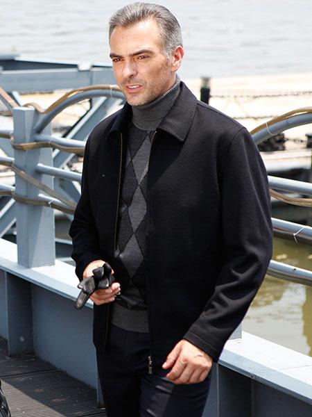 富绅VIRTUE男装黑色夹克