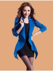 蜜思罗雅MISSROYAL女装蓝色中长款开衫