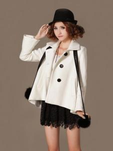 蜜思罗雅MISSROYAL女装欧版白色大衣