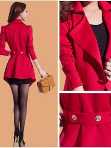 蜜思罗雅MISSROYAL女装修身红色大衣