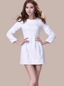 蜜思罗雅MISSROYAL女装修身白色连衣裙