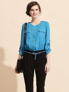 蜜思罗雅MISSROYAL女装蓝色衬衫
