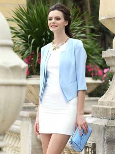 奥伦提女装浅蓝色小西服