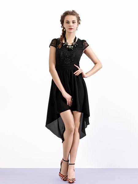 香影黑色雪纺连衣裙