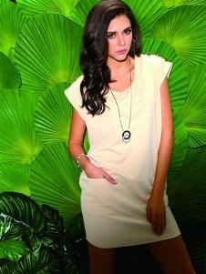 富天白色连衣裙