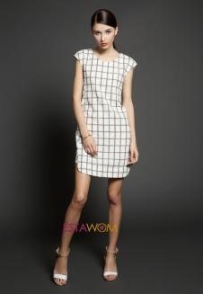 A03F14SS 牛角袖拼接格紋連衣裙