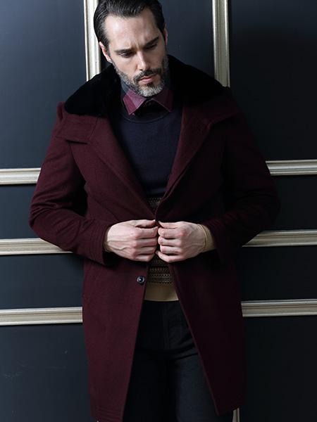 富绅VIRTUE男装休闲红色外套
