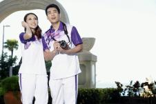 思腾运动短袖T恤58301白紫