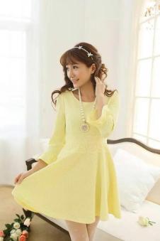 莉雅莉萨LIYALISA2014秋季女装 七分袖连衣裙