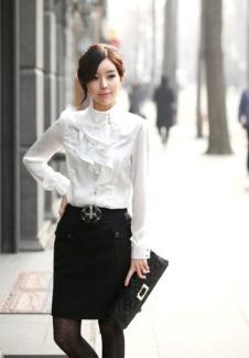 花之薇韩版女装 长袖白衬衫