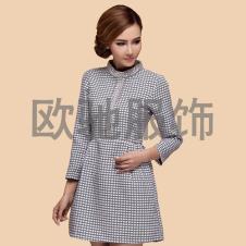 显瘦简约镶钻时尚小立领长袖连衣裙