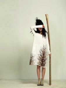 因为ZOLLE女装棉麻印花裙子